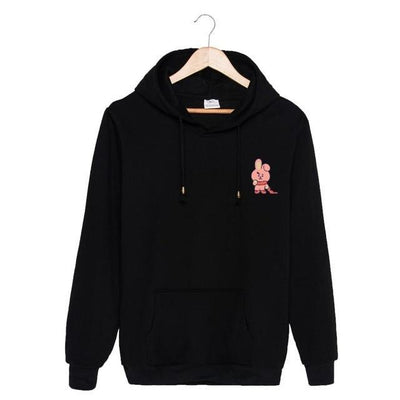 BTS x BT21 Christmas Hoodie Cooky-Black / S Gotamochi BTS MERCH BT21 MERCH KAWAII STORE