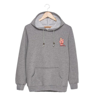 BTS x BT21 Christmas Hoodie Cooky-Gray / S Gotamochi BTS MERCH BT21 MERCH KAWAII STORE