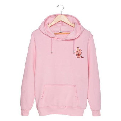 BTS x BT21 Christmas Hoodie Cooky-Pink / S Gotamochi BTS MERCH BT21 MERCH KAWAII STORE