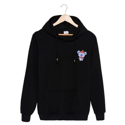 BTS x BT21 Christmas Hoodie Koya-Black / S Gotamochi BTS MERCH BT21 MERCH KAWAII STORE