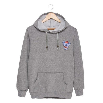 BTS x BT21 Christmas Hoodie Koya-Gray / S Gotamochi BTS MERCH BT21 MERCH KAWAII STORE