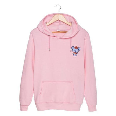 BTS x BT21 Christmas Hoodie Koya-Pink / S Gotamochi BTS MERCH BT21 MERCH KAWAII STORE