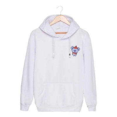 BTS x BT21 Christmas Hoodie Koya-White / S Gotamochi BTS MERCH BT21 MERCH KAWAII STORE