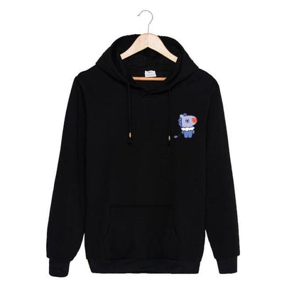 BTS x BT21 Christmas Hoodie Mang-Black / S Gotamochi BTS MERCH BT21 MERCH KAWAII STORE