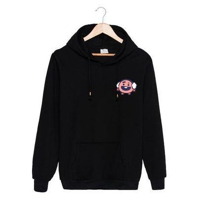 BTS x BT21 Christmas Hoodie Shooky-Black / S Gotamochi BTS MERCH BT21 MERCH KAWAII STORE