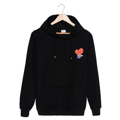 BTS x BT21 Christmas Hoodie TaTa-Black / S Gotamochi BTS MERCH BT21 MERCH KAWAII STORE