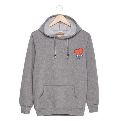 BTS x BT21 Christmas Hoodie TaTa-Gray / S Gotamochi BTS MERCH BT21 MERCH KAWAII STORE