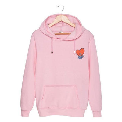 BTS x BT21 Christmas Hoodie TaTa-Pink / S Gotamochi BTS MERCH BT21 MERCH KAWAII STORE