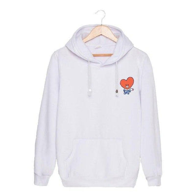 BTS x BT21 Christmas Hoodie TaTa-White / S Gotamochi BTS MERCH BT21 MERCH KAWAII STORE