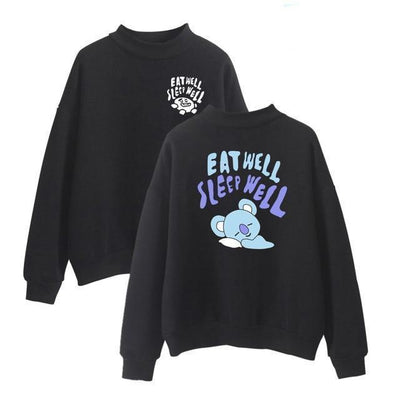 BTS x BT21 Eat Well Sleep Well Koya Pullover XL Gotamochi BTS MERCH BT21 MERCH KAWAII STORE