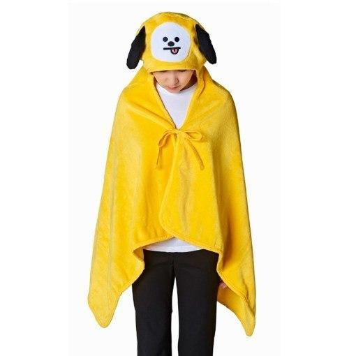 BTS x BT21 Hooded Plush Blanket 146X80cm / Chimmy Gotamochi BTS MERCH BT21 MERCH KAWAII STORE