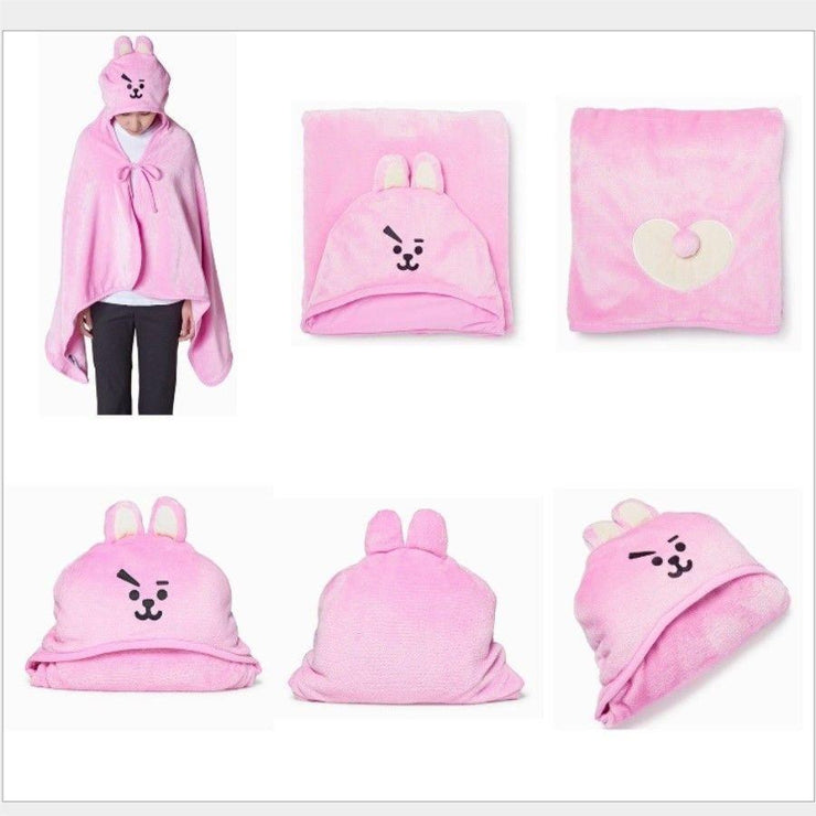 BTS x BT21 Hooded Plush Blanket Gotamochi BTS MERCH BT21 MERCH KAWAII STORE