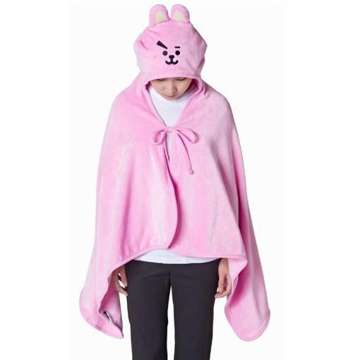BTS x BT21 Hooded Plush Blanket 146X80cm / Cooky Gotamochi BTS MERCH BT21 MERCH KAWAII STORE