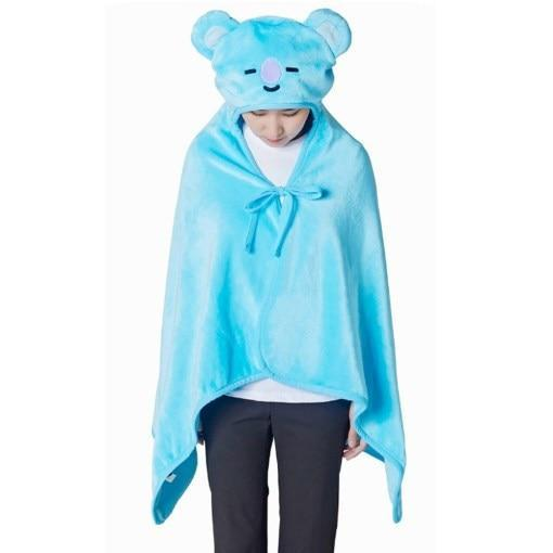 BTS x BT21 Hooded Plush Blanket 146X80cm / Koya Gotamochi BTS MERCH BT21 MERCH KAWAII STORE