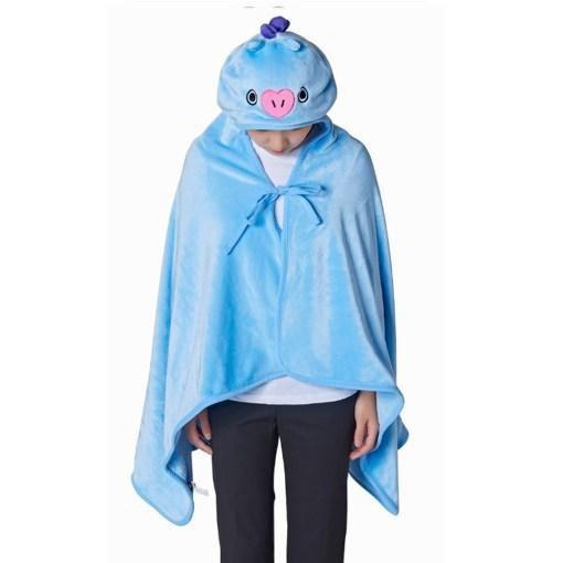 BTS x BT21 Hooded Plush Blanket 146X80cm / Mang Gotamochi BTS MERCH BT21 MERCH KAWAII STORE
