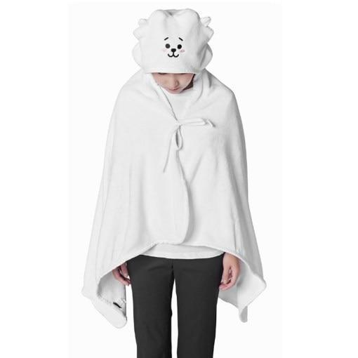 BTS x BT21 Hooded Plush Blanket 146X80cm / RJ Gotamochi BTS MERCH BT21 MERCH KAWAII STORE