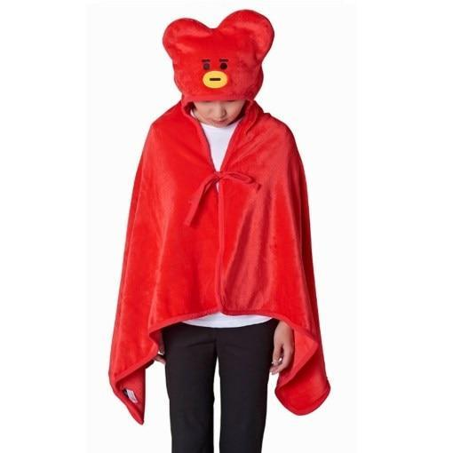 BTS x BT21 Hooded Plush Blanket 146X80cm / Tata Gotamochi BTS MERCH BT21 MERCH KAWAII STORE