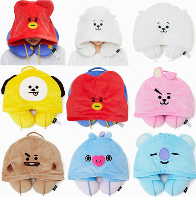BTS x BT21 Hoodie Neck Cushion Gotamochi BTS MERCH BT21 MERCH KAWAII STORE