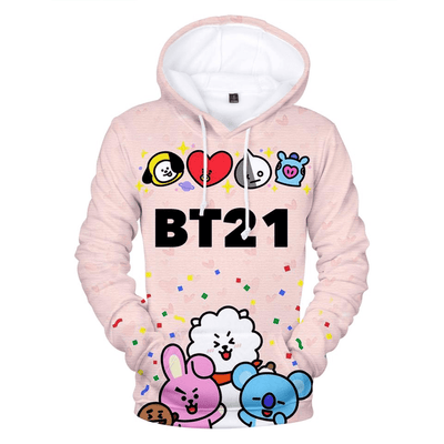 BTS x BT21 Party Hoodie Gotamochi BTS MERCH BT21 MERCH KAWAII STORE