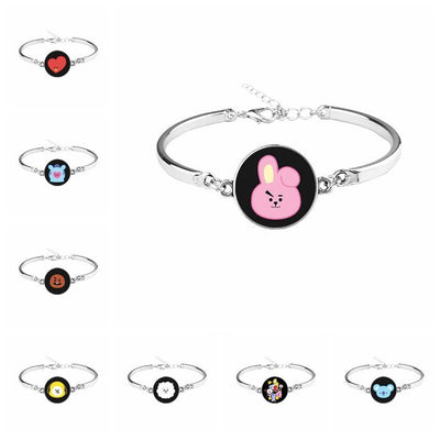BTS x BT21 Silver Bracelet Gotamochi BTS MERCH BT21 MERCH KAWAII STORE