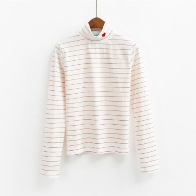 Candy Heart Turtleneck Harajuku Long Sleeve Sweater White Pink Stripe / One Size Gotamochi BTS MERCH BT21 MERCH KAWAII STORE