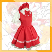 Card Captor Sakura Kinomoto Red Battle Dress Cosplay Costume