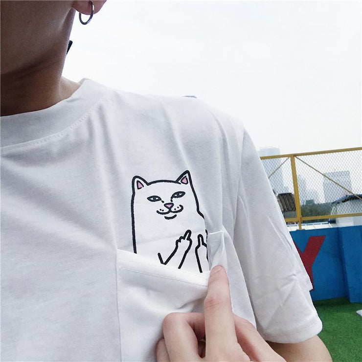 Cat Subtly Flipping Double Middle Fingers Tee Gotamochi BTS MERCH BT21 MERCH KAWAII STORE