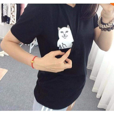 Cat Subtly Flipping You Off Kawaii T-Shirt [3 Colors] Black / XS Gotamochi BTS MERCH BT21 MERCH KAWAII STORE