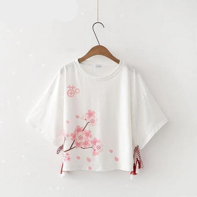 Cherry Blossoms Tassel Sleeve T-Shirt Kawaii Top White / S Gotamochi BTS MERCH BT21 MERCH KAWAII STORE