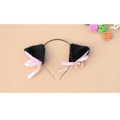 Cosplay Neko Kitten Ears with Bell Hairclip Black Gotamochi BTS MERCH BT21 MERCH KAWAII STORE