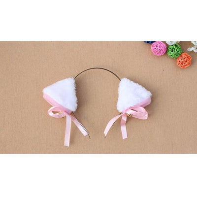 Cosplay Neko Kitten Ears with Bell Hairclip White Gotamochi BTS MERCH BT21 MERCH KAWAII STORE
