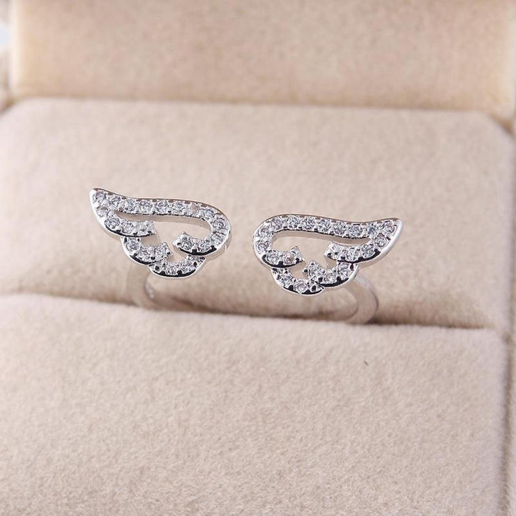 Cute Angel Wings Adjustable Ring [2 Colors] Platinum Gotamochi BTS MERCH BT21 MERCH KAWAII STORE