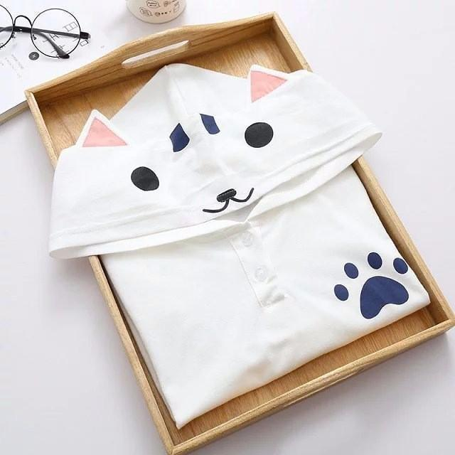 Cute Cat Eared Hooded Short Sleeve Kawaii T-Shirt [2 Colors] Gotamochi BTS MERCH BT21 MERCH KAWAII STORE