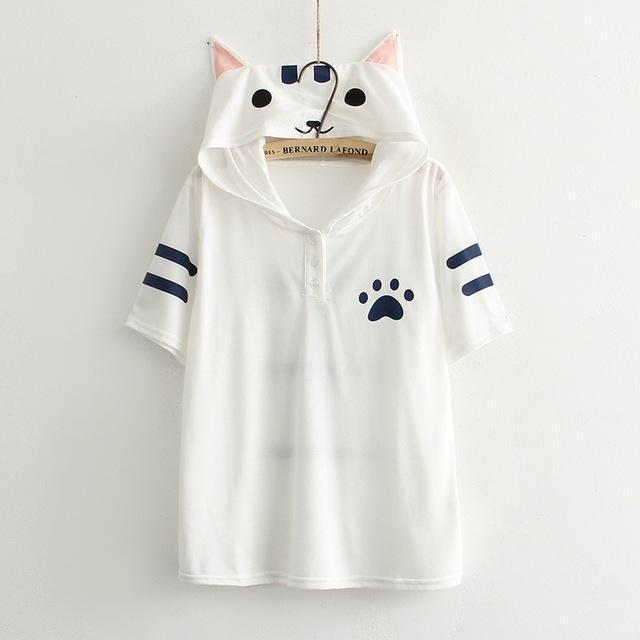 Cute Cat Eared Hooded Short Sleeve Kawaii T-Shirt [2 Colors] White / One Size Gotamochi BTS MERCH BT21 MERCH KAWAII STORE