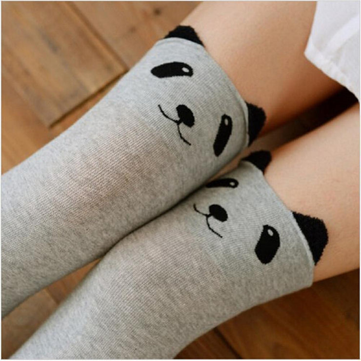 Cute Cats And Bears Animal Kawaii Thigh Socks [3 Styles] Light Gray Panda Gotamochi BTS MERCH BT21 MERCH KAWAII STORE