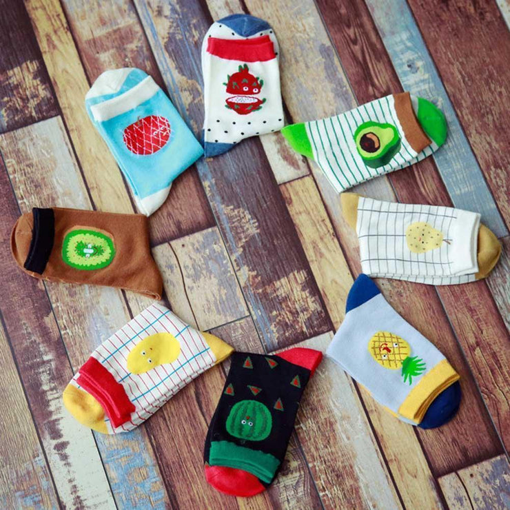 Cute Fruit Design Cotton Socks [8 Styles] Gotamochi BTS MERCH BT21 MERCH KAWAII STORE