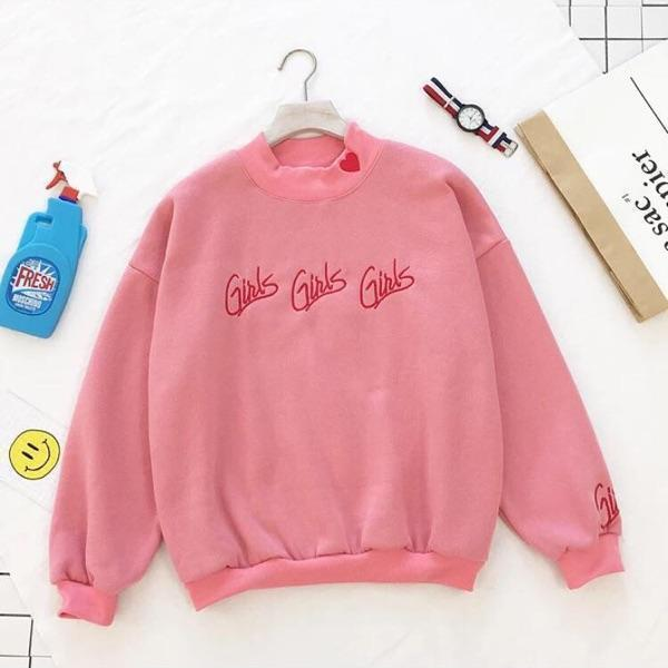Cute Korean High Collar Kawaii Sweatshirt [2 Colors] Pink / One Size Gotamochi BTS MERCH BT21 MERCH KAWAII STORE