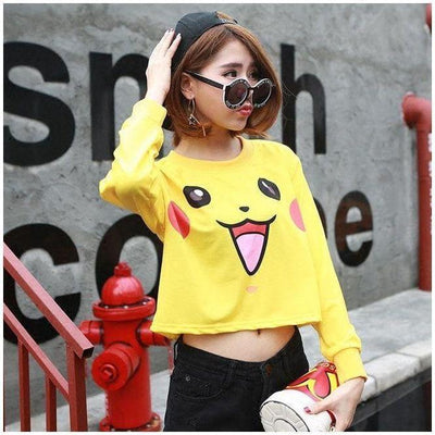 Cute Pokemon Pikachu Cropped Sweater Pullover One Size Gotamochi BTS MERCH BT21 MERCH KAWAII STORE