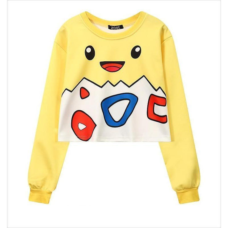 Cute Pokemon Togepi Cropped Sweater Pullover One Size Gotamochi BTS MERCH BT21 MERCH KAWAII STORE