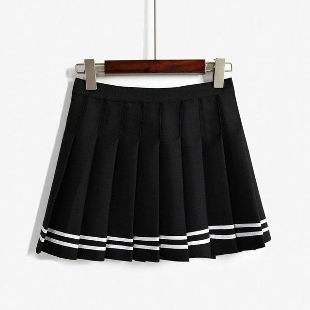 Elegant High-waist Mini Skirts [6 COLORS] Black with striped / L Gotamochi BTS MERCH BT21 MERCH KAWAII STORE