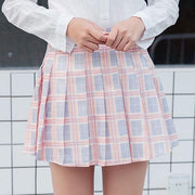 Elegant High-waist Mini Skirts [6 COLORS] Gray Plaid / L Gotamochi BTS MERCH BT21 MERCH KAWAII STORE