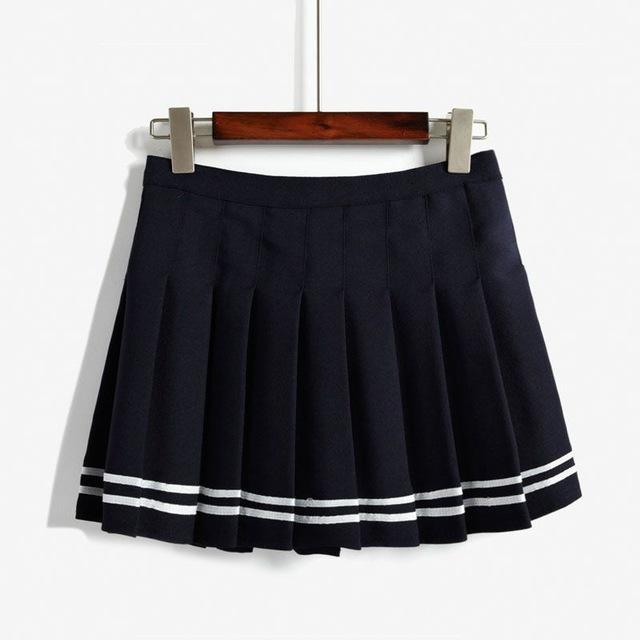 Elegant High-waist Mini Skirts [6 COLORS] Navy Blue Striped / L Gotamochi BTS MERCH BT21 MERCH KAWAII STORE