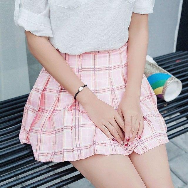 Elegant High-waist Mini Skirts [6 COLORS] Red Plaid / L Gotamochi BTS MERCH BT21 MERCH KAWAII STORE