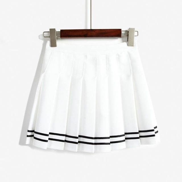Elegant High-waist Mini Skirts [6 COLORS] White with striped / L Gotamochi BTS MERCH BT21 MERCH KAWAII STORE