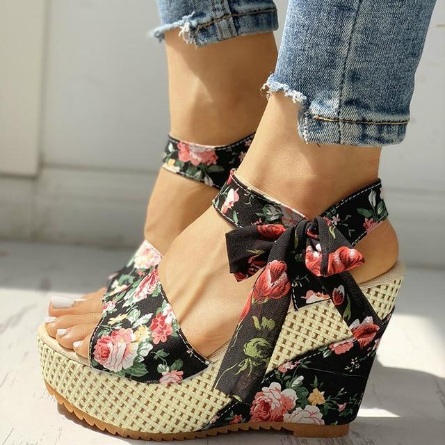 Floral Bowknot Design Platform Sandals Kawaii Wedge Shoes Black / 5 Gotamochi BTS MERCH BT21 MERCH KAWAII STORE