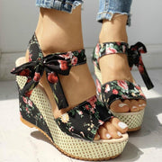 Floral Bowknot Design Platform Sandals Kawaii Wedge Shoes Gotamochi BTS MERCH BT21 MERCH KAWAII STORE