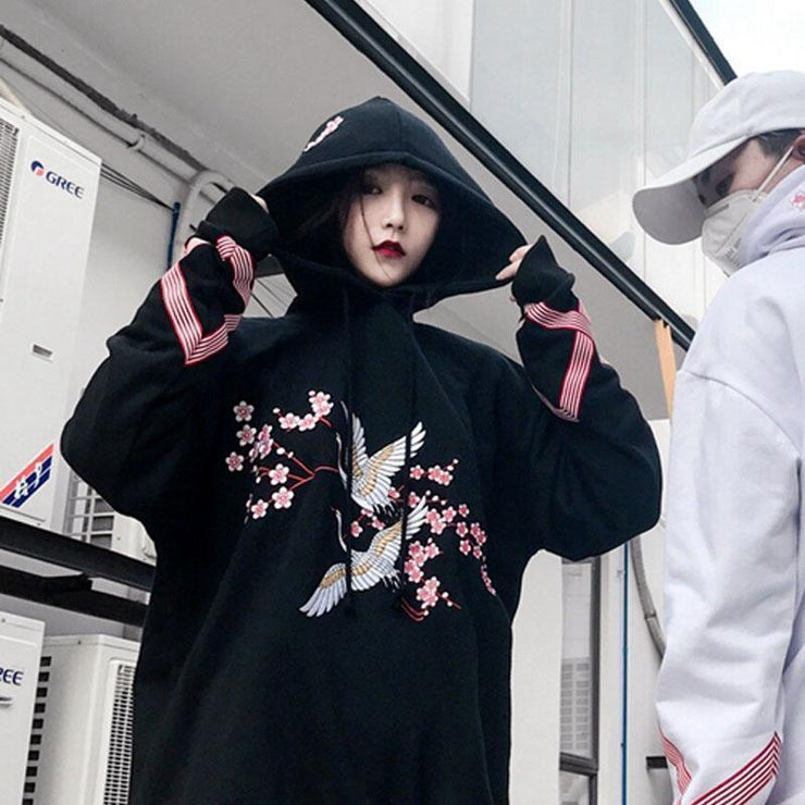 Flower And Crane Embroidered Thick Hip Hop Harajuku Hoodie [2 Colors] Black / S Gotamochi BTS MERCH BT21 MERCH KAWAII STORE