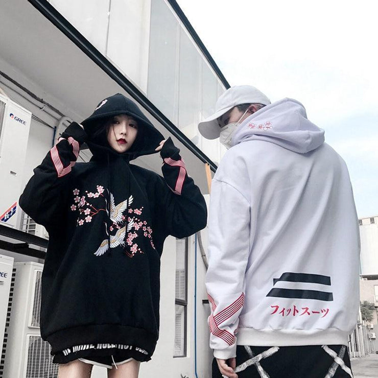 Flower And Crane Embroidered Thick Hip Hop Harajuku Hoodie [2 Colors] Gotamochi BTS MERCH BT21 MERCH KAWAII STORE