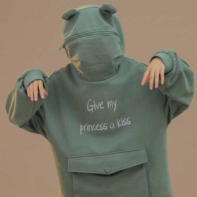 Give My Princess a Kiss Frog Hoodie Harajuku Pullover Gotamochi BTS MERCH BT21 MERCH KAWAII STORE