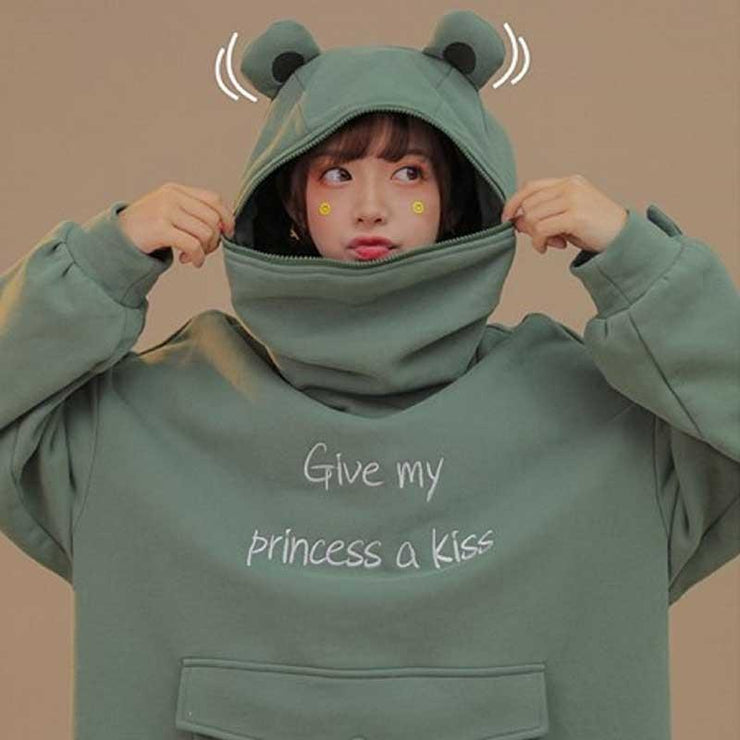 Give My Princess a Kiss Frog Hoodie Harajuku Pullover M Gotamochi BTS MERCH BT21 MERCH KAWAII STORE